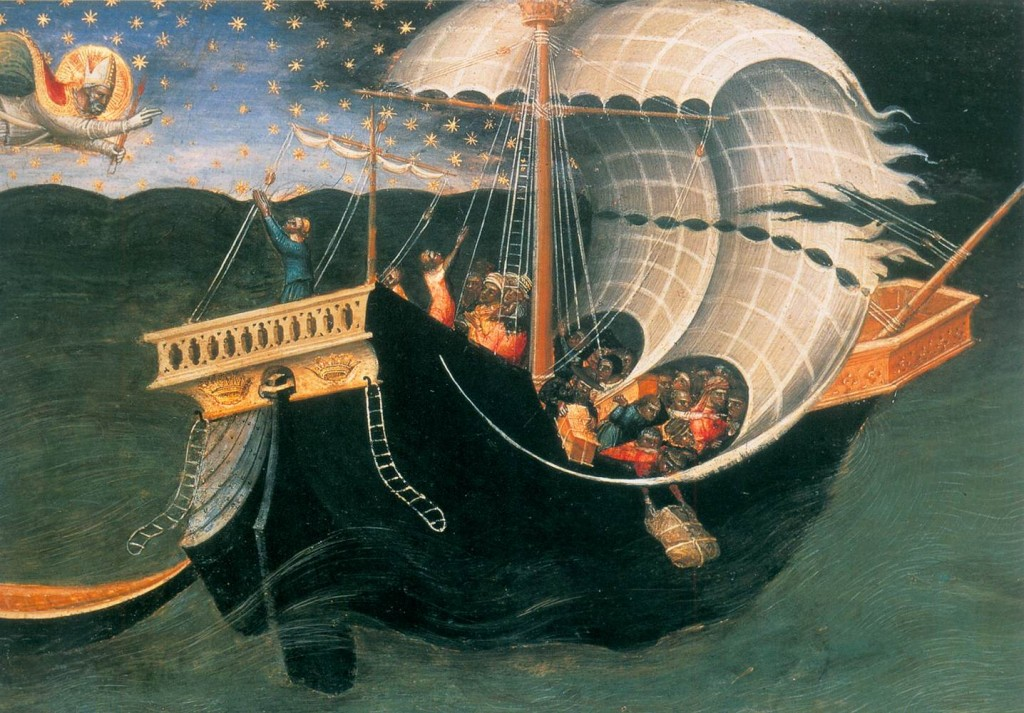 BICCI DI LORENZO St Nicholas of Bari Banishing the Storm (detail) 1433-35 Tempera and gilding on panel Ashmolean Museum, Oxford (source : WGA)