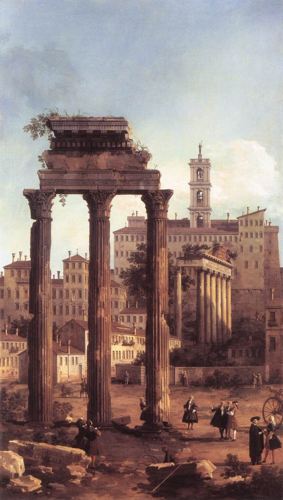 CANALETTO Rome: Ruins of the Forum, Looking towards the Capitol 1742 Oil on canvas, 188 x 104 cm Royal Collection, Windsor (source : WGA)