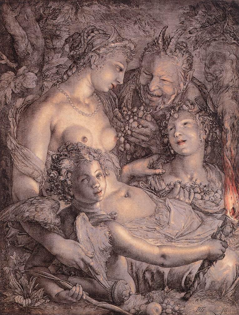"""Hendrick GOLTZIUS, """"Sans Cérès et Bacchus, Vénus mourrait de froid"""", (1599-1602), Philadelphie, Musée d'art (source : WGA)."""
