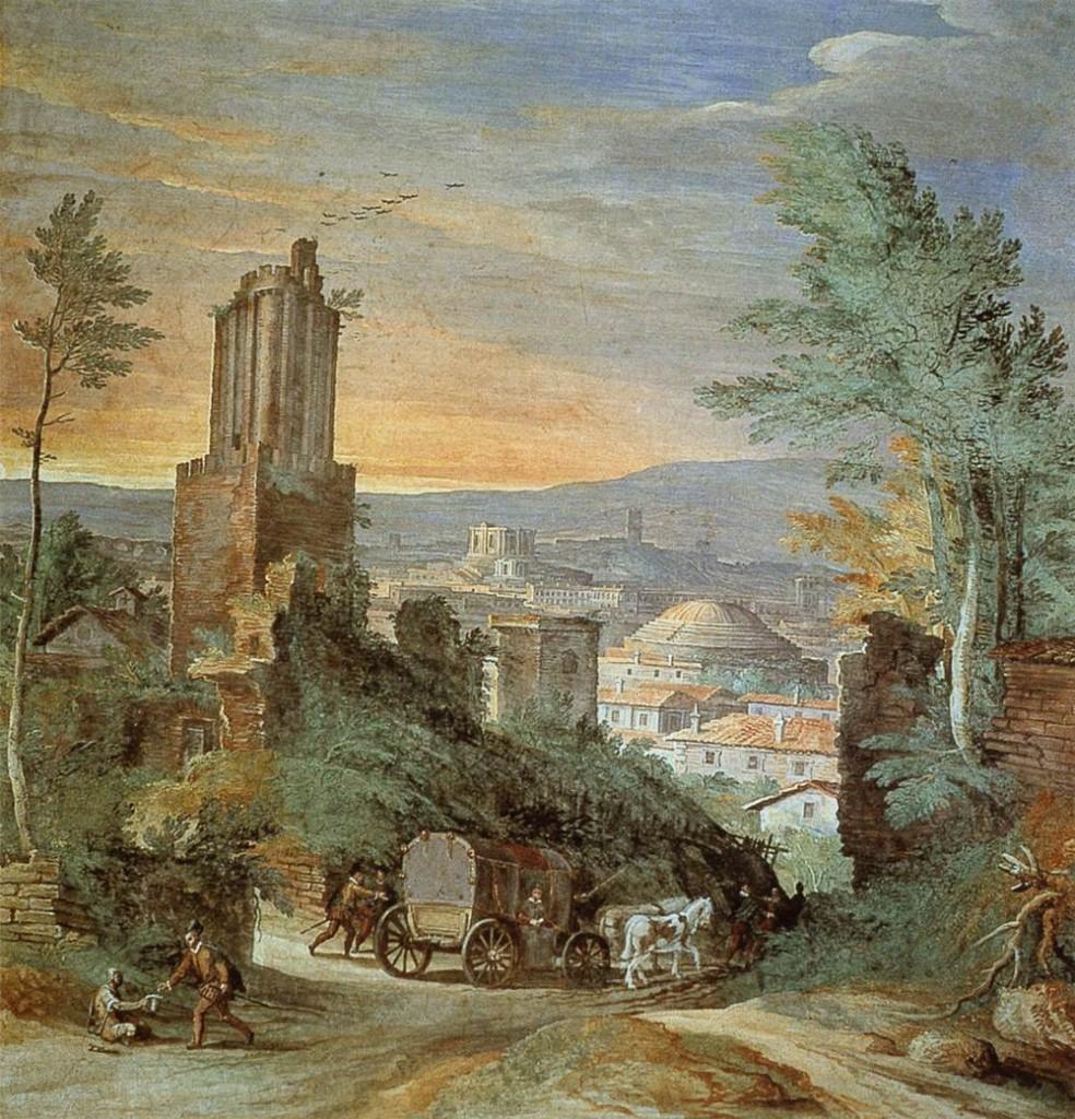 BRIL, Paul Landscape with Roman Ruins c. 1580 Fresco Torre dei Venti, Vatican City, Rome (source : WGA)
