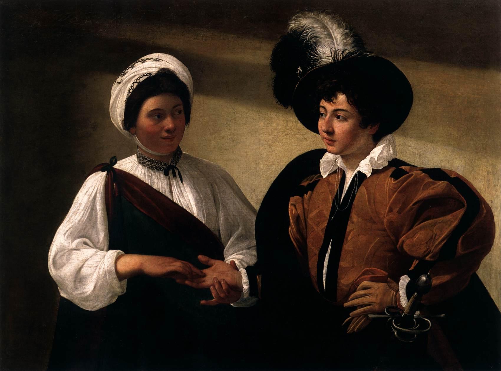 """CARAVAGE, """"La diseuse de bonne aventure"""", (vers 1596), Paris, Louvre (source : WGA)."""