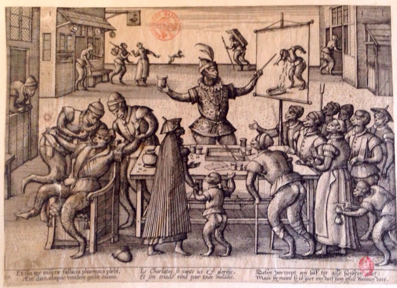 Peeter Van Der Borcht, Charlatans (1580 ca), Gravure, 18,7 x 27.9 cm. Paris, BnF [Arsénal], Ars-EST 203(4).