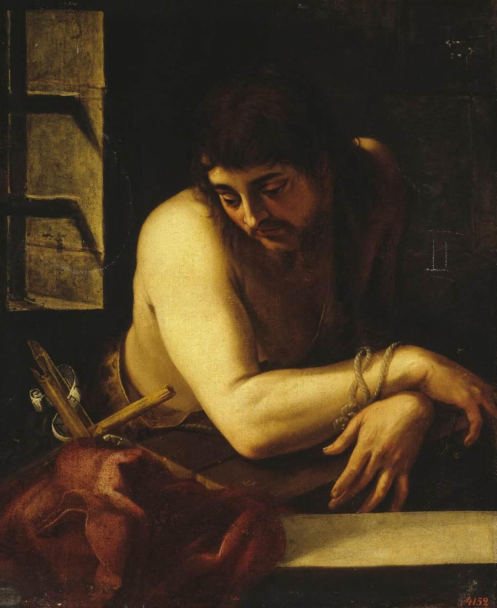 """Juan Fernández de Navarrete, """"Saint Jean-Baptiste en prison"""" (1565-1570), Saint-Pétersbourg, l'Hermitage (source : WGA)."""