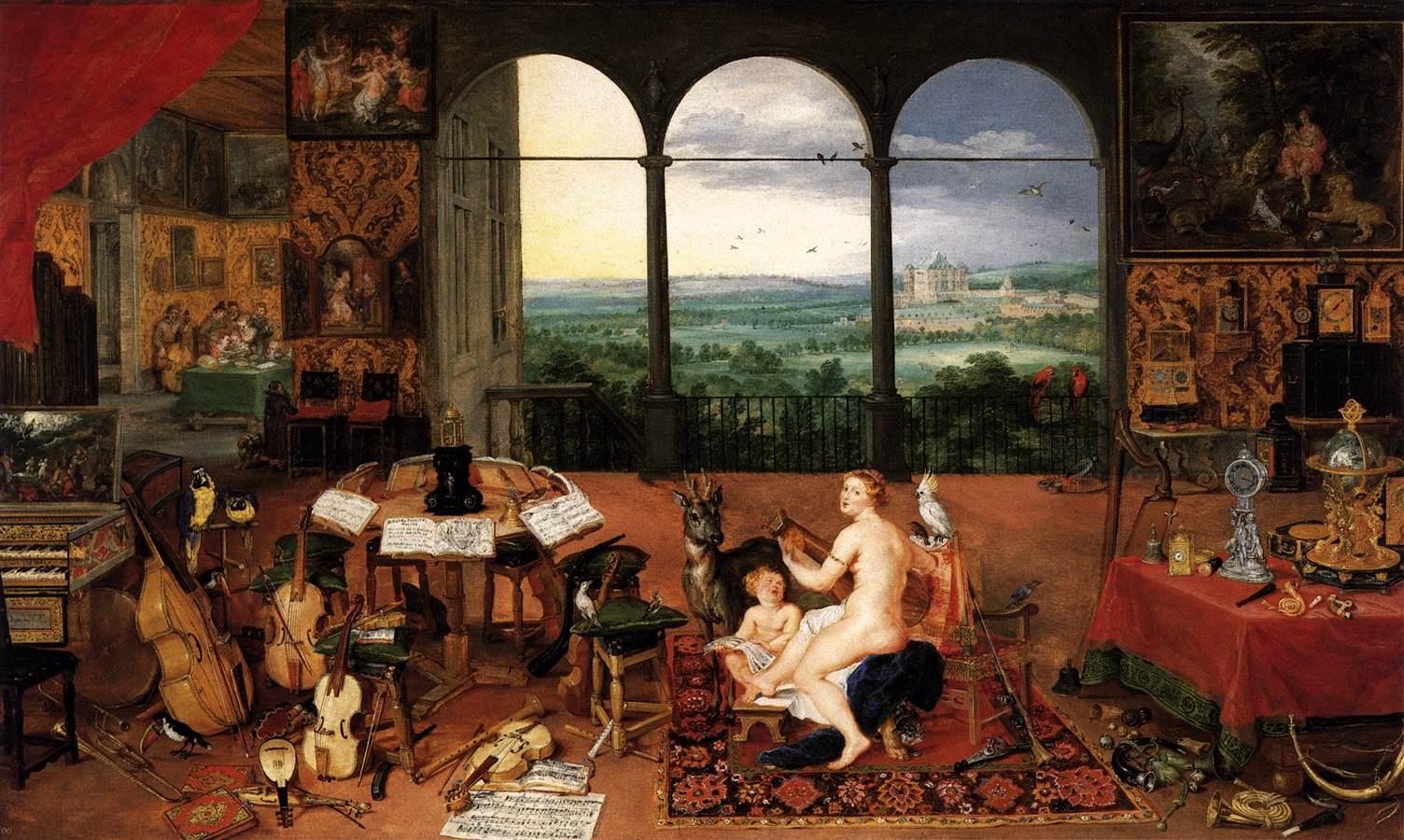 """Brueghel l'Ancien, """"Le sens de l'ouïe"""", 1618, Madrid, Museo del Prado (source ; WGA)."""