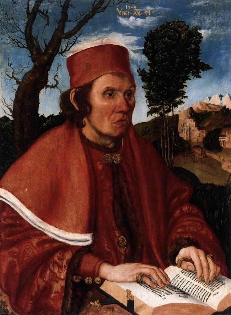 CRANACH, Lucas the Elder Portrait of a Jurist 1503 Oil and tempera on wood, 54 x 39 cm Germanisches Nationalmuseum, Nuremberg (source : WGA)