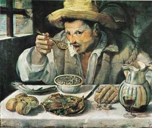 """Annibale Carracci, """"Le mangeur de haricots"""" (1583-1585), Rome, Galerie Colonna (source : artonline)"""