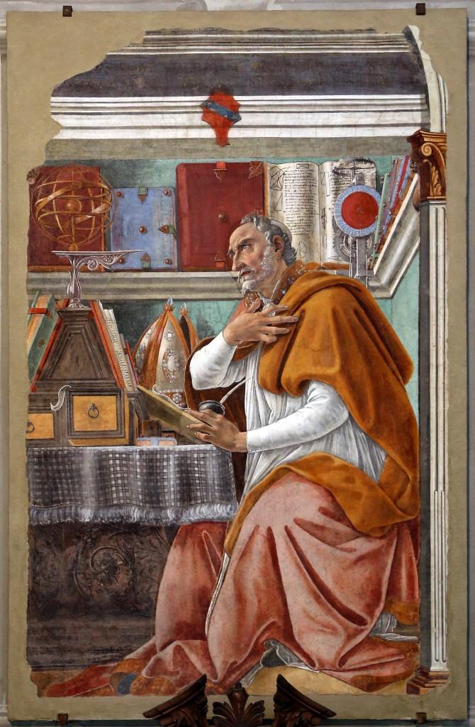 Saint Augustin dans son cabinet de travail, Sandro Botticcelli, 1480, Église Ognissanti (Crédit : wikipedia - CC-BY – Francesco Belli)