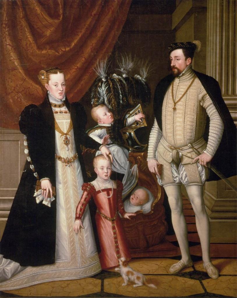 ARCIMBOLDO, Giuseppe Maximilian II, His Wife and Three Children 1563 Huile sur toile, 240 x 188 cm, Kunsthistorisches Museum, Vienna (source : WGA)