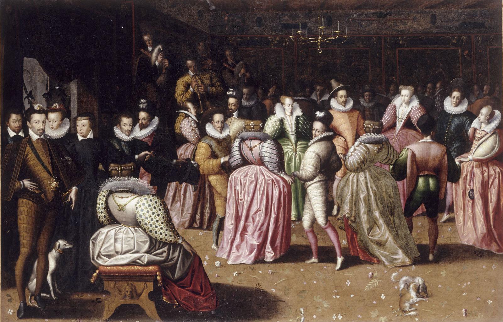 """Anonyme, """"Bal à la cour de Henri III"""", (vers 1582), Paris, Musée du Louvre."""