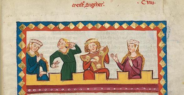 Meistersingerfrom the Manesse manuscript, Heidelberg University Library, Cod. Pal. germ. 848, f. 410r (Zürich, c.1300–1340)