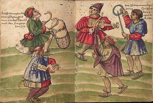 """Christoph Weiditz, """"Danse morisque"""", in """"Trachtenbuch"""", Germanisches Nationalmuseum Nürnberg, Hs. 22474. Bl. 107–108, années 1530."""