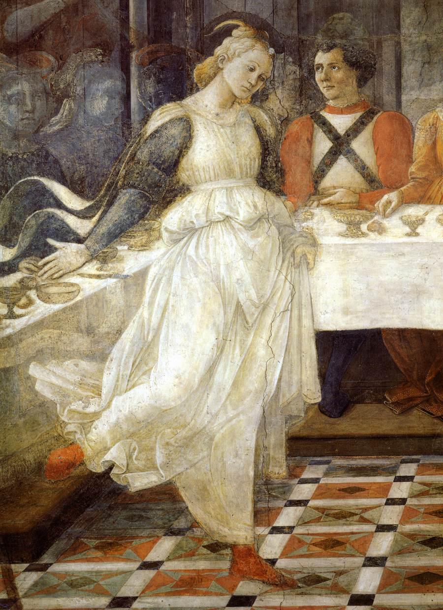"""Fra Filippo Lippi, """"Le repas d'Hérode : la danse de Salomé"""" (détail), fresque, Prato, vers 1460-1464 (source : WGA)."""