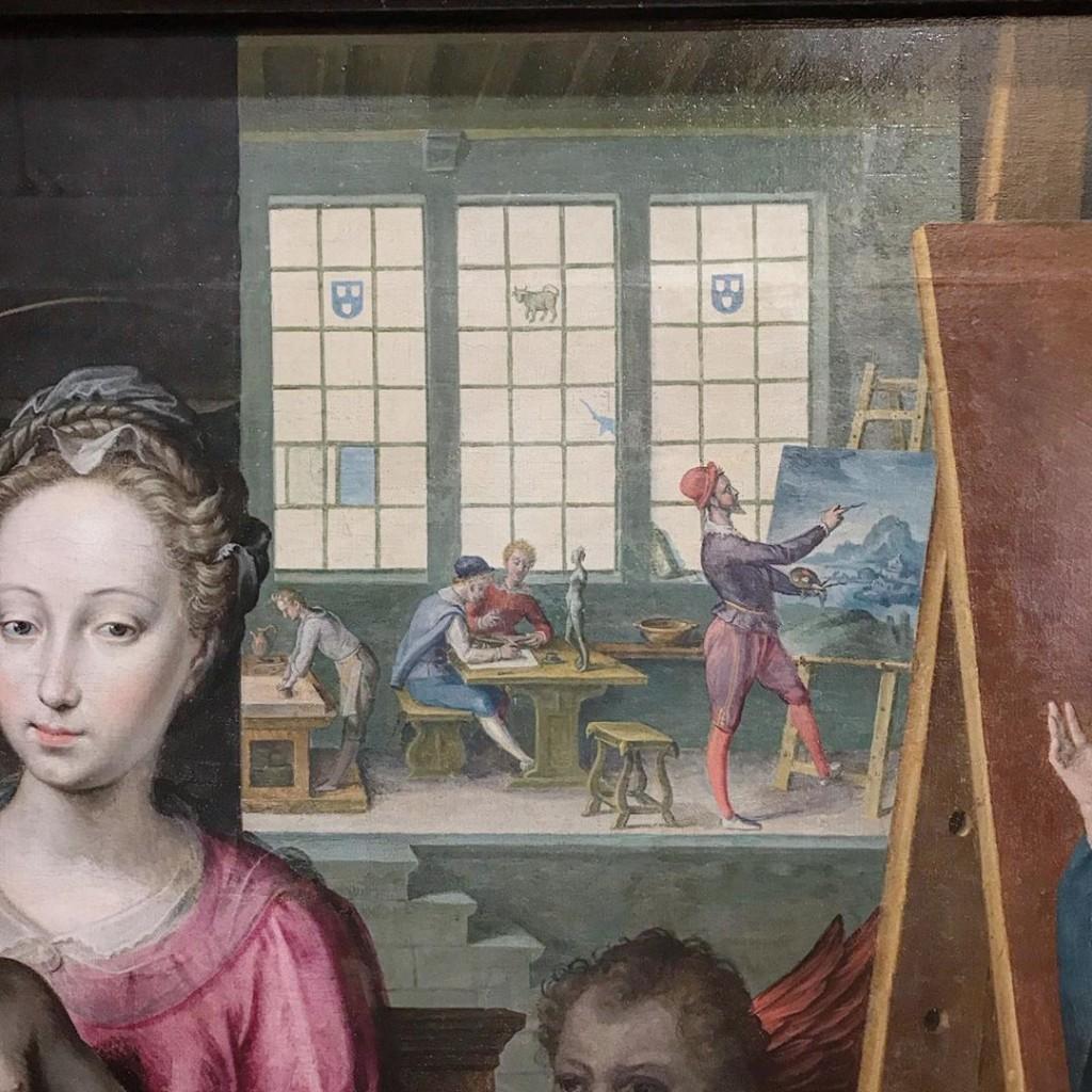 Nicolas de Hoey, Saint Luc peignant la Vierge (détail), 1603, Dijon, musée des Beaux-Arts