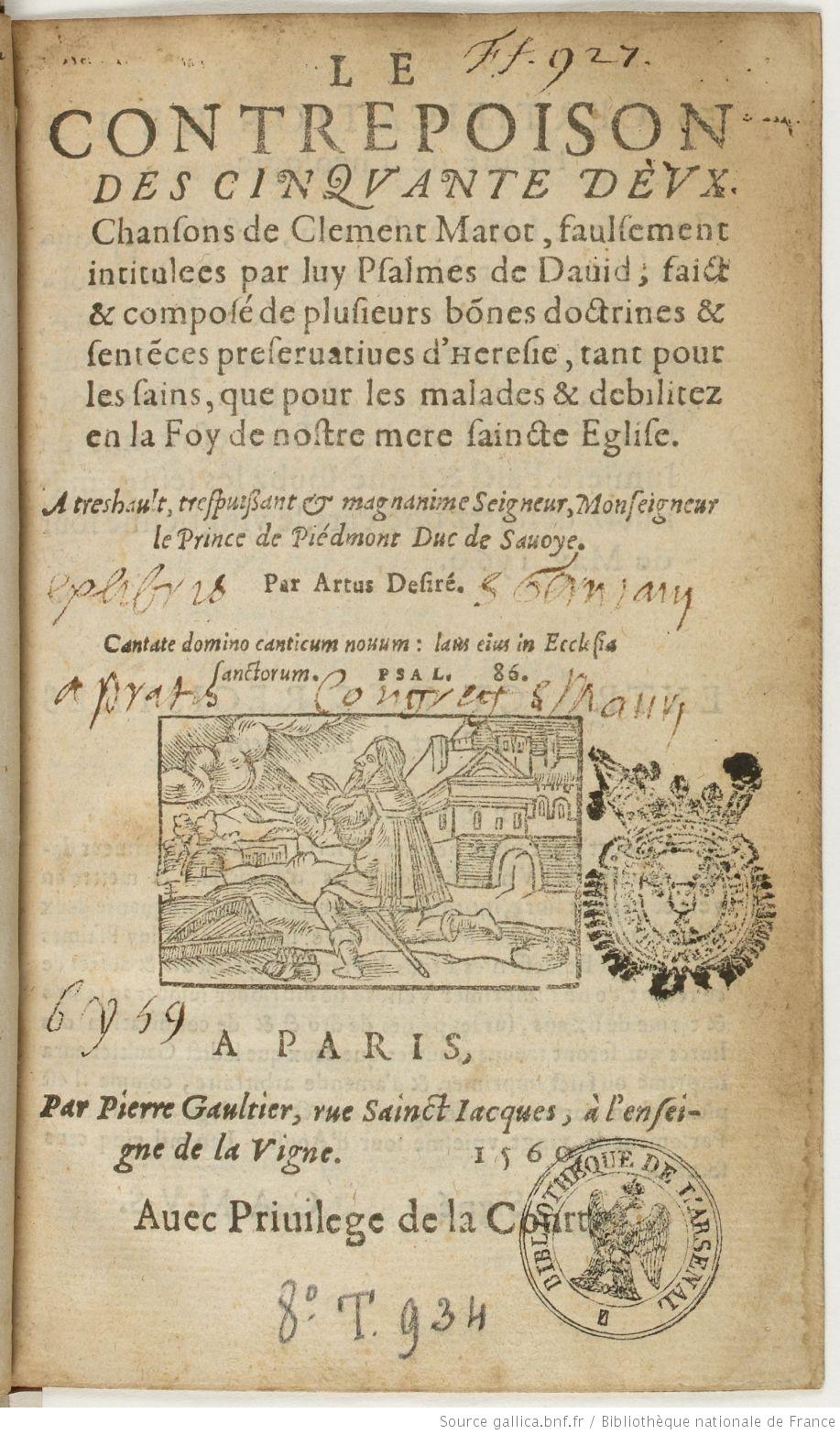 """Page de titre du """"Contrepoison"""" (1560), source : gallica."""
