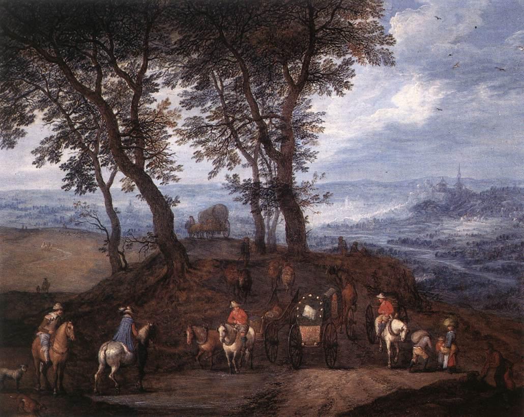 """Jan Brueghel l'Ancien, """"Voyageurs sur le chemin"""" (s.d), Anvers, Rockox House (source : WGA)."""