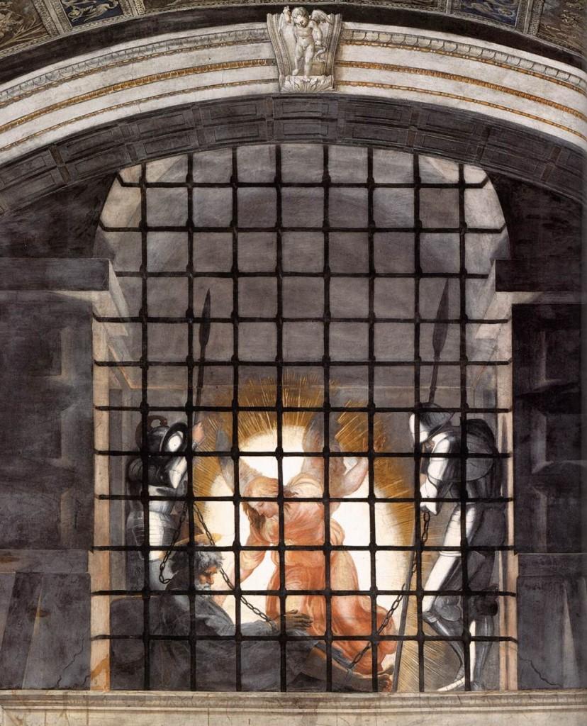 La Libération de Saint Pierre (détail), 1514, fresque de Raphaël (WGA)