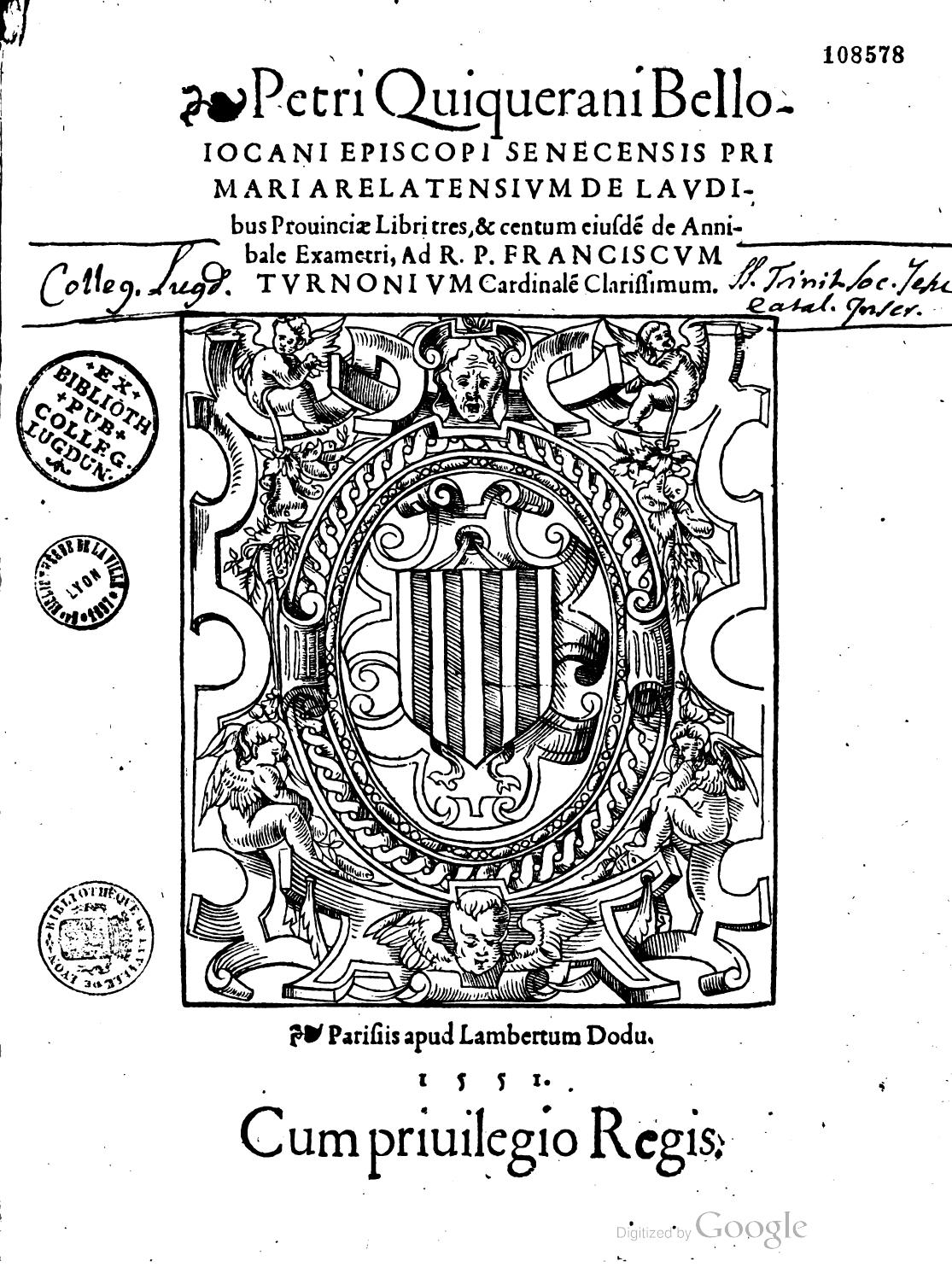 Pierre de Quiqueran de Beaujeu, De laudibus Provinciae, 1551