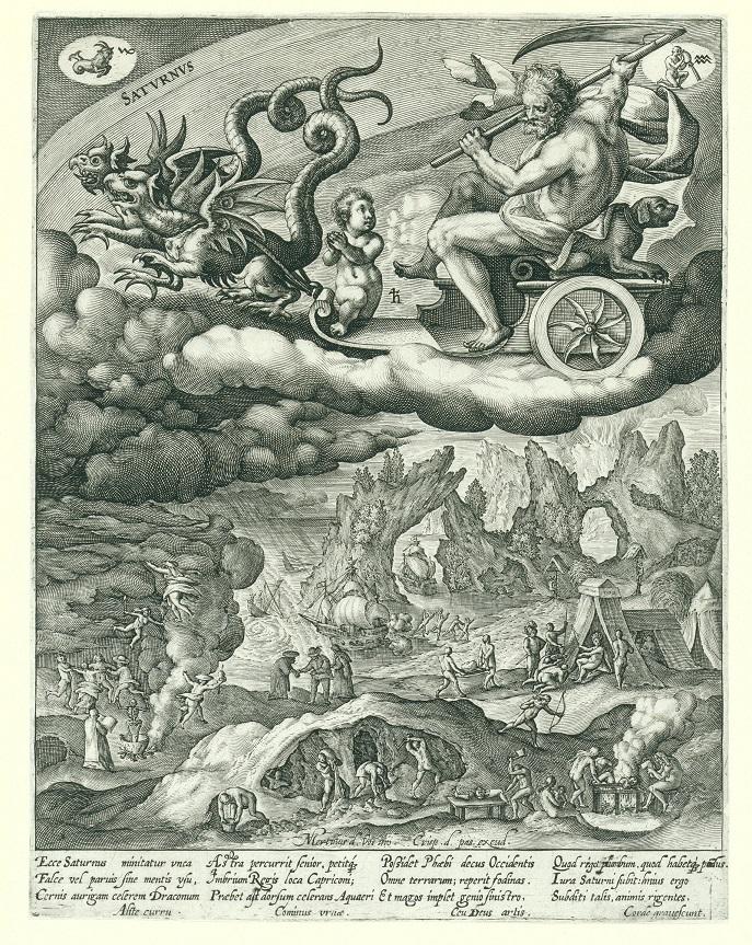 Saturnus, Crispijn van de Passe (I), after Maerten de Vos, 1589 - 1611