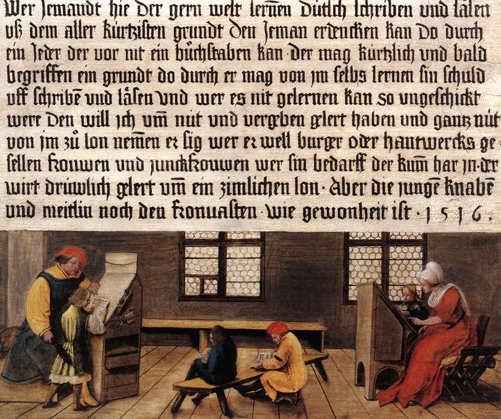 """Ambrosius HOLBEIN, """"Enseigne d'un maître d'école"""" (1516), Bâle, Öffentliche Kunstsammlung (source : WGA)."""