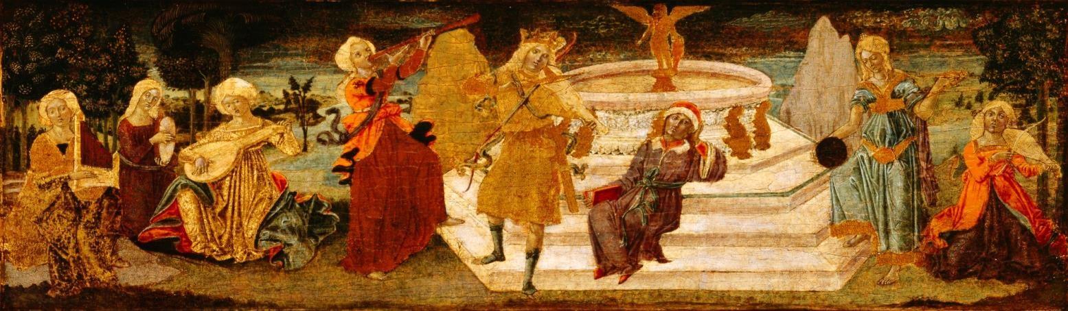 Benvenuto di Giovanni di Meo del Guasta, Apollon et les Muses, vers 1475 (Sienne). Peinture sur bois, 31,7 × 106,7 cm, Detroit Institute of Arts, Founders Society Purchase, General Membership Fund, 40.128 © Detroit Institute of Arts