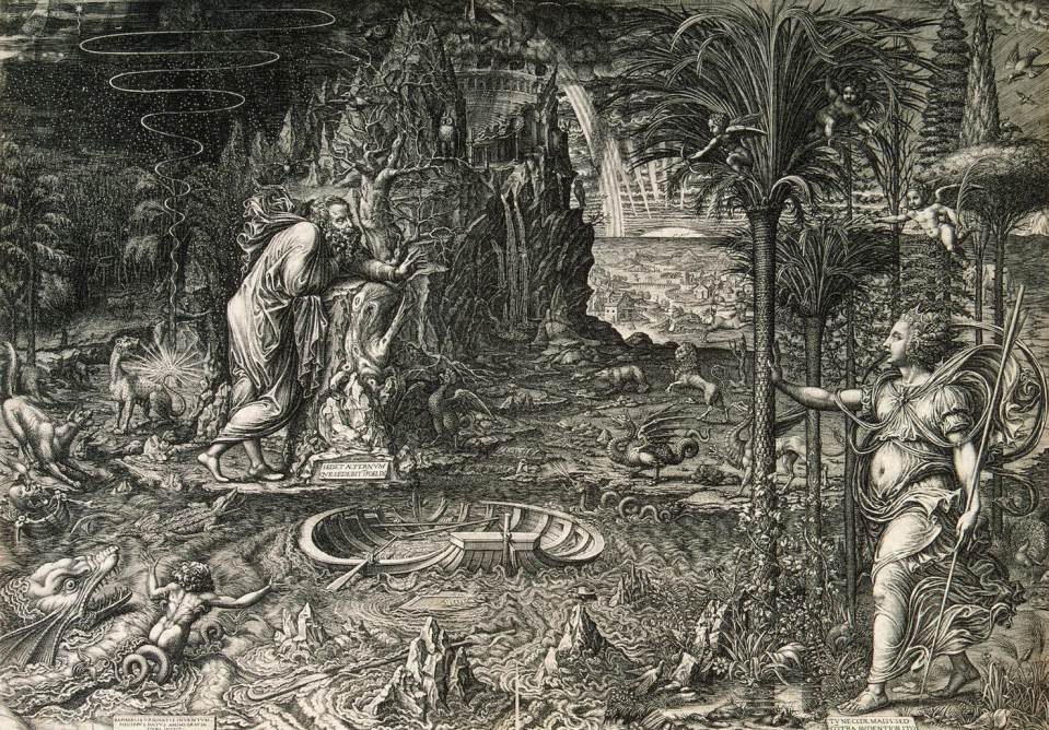 """Giorgio Ghisi, """"Le rêve de Raphaël"""", (1561), Saint-Pétersbourg, Musée de l'Ermitage (source : WGA)."""