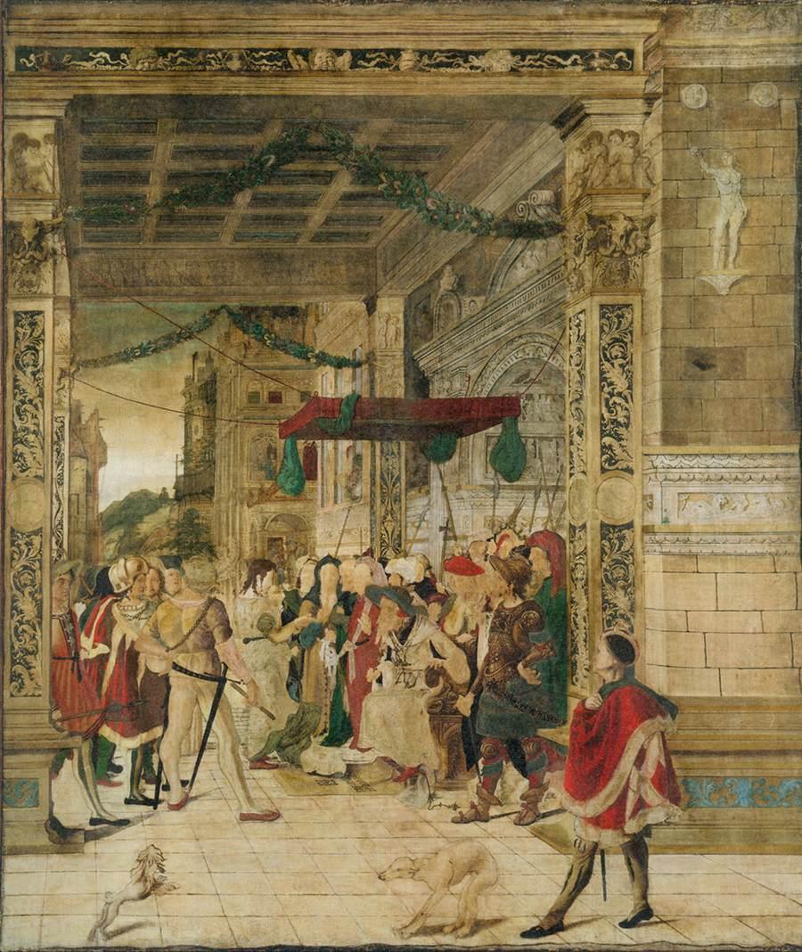 "Jörg Breu le jeune, ""Joseph interprétant les rêves de Pharaon"", (1537-47), New-York, Metropolitan Museum of Art (source : WGA)."