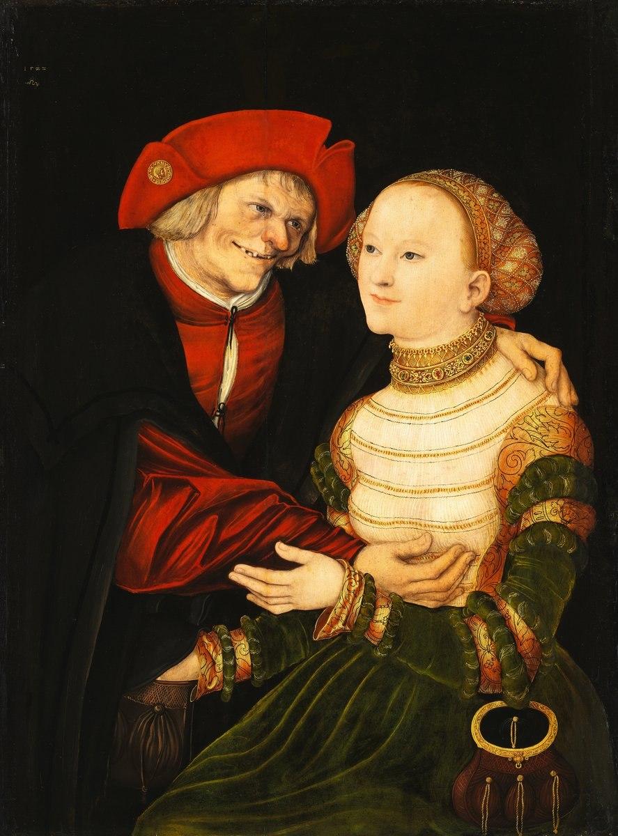 """Lucas Cranach l'Ancien, """"Couple mal assorti II"""", 1522, Musée des Beaux-Arts de Budapest (source : WGA)."""