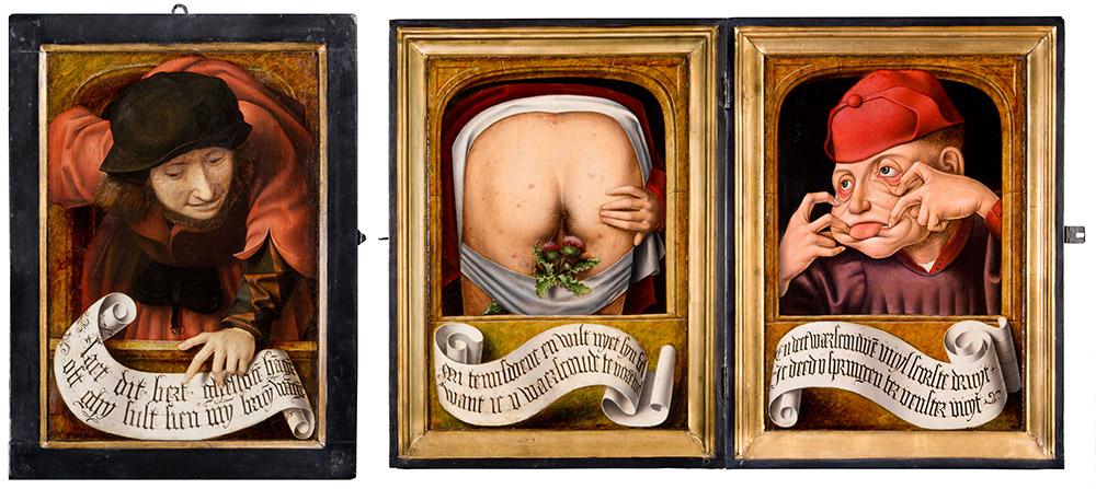 Anciens Pays-Bas, Diptyque satirique, huile sur bois, 58,8 x 44,2 cm, 1520-1530, inv. 12013 (photo Guy Focant, 2019). ©Musée Wittert ULiège (https://www.wittert.uliege.be/cms/c_11991976/fr/selection-de-tableaux-wittert)