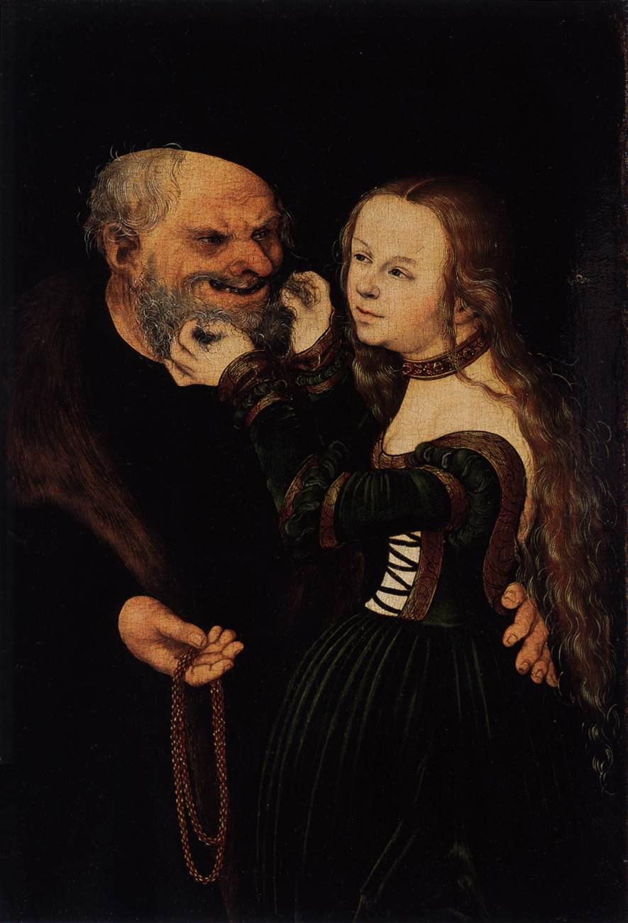 """Lucas Cranach l'Ancien, """"Jeune fille et vieil homme"""", vers 1530, Kunstpalast, Düsseldorf, WGA"""