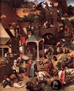 """Pierre Brughel l'ancien, """"Proverbes néerlandais"""", (1559), Musée d'Etat de Berlin (WGA)"""