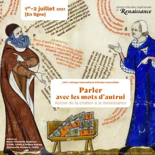 [63e colloque international d'études humanistes] Parler avec les mots d'autrui : autour de la citation à la Renaissance