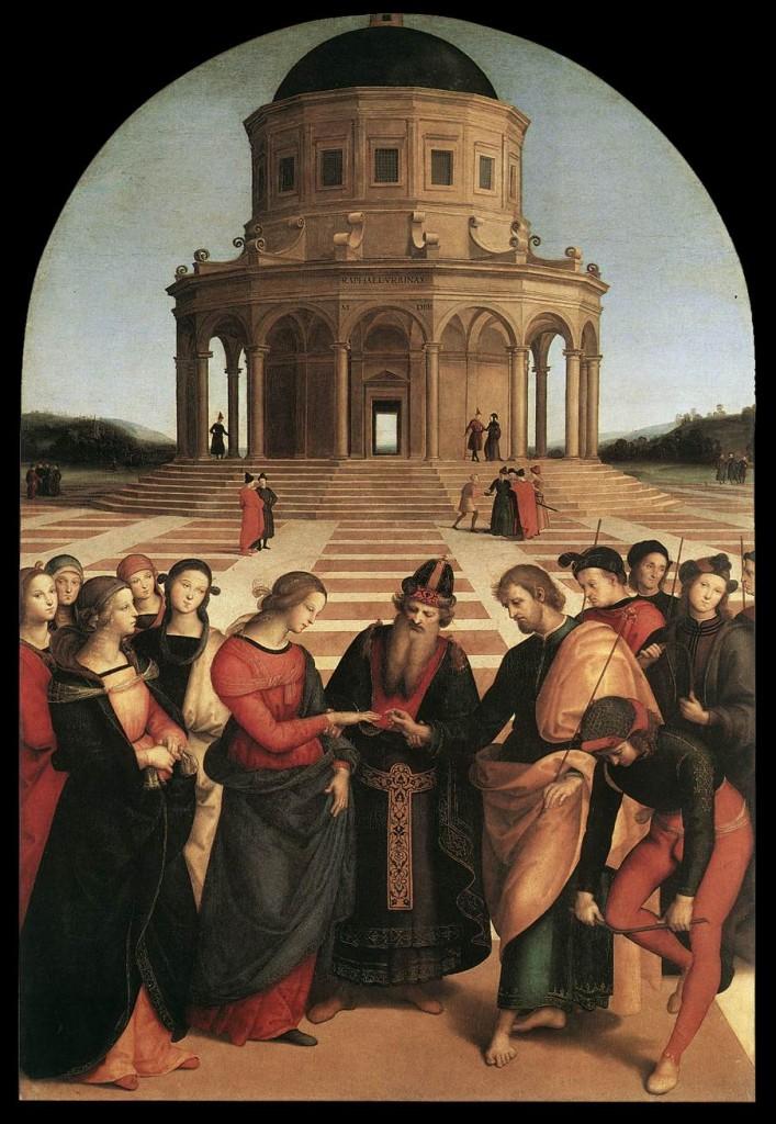 Raffaelo Sanzio, Sposalizio, 1504 (ou le mariage des temps à la Renaissance) (source : WGA)